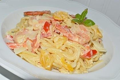 Spaghetti mit Frischkäse-Garnelen-Soße 2