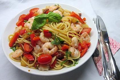 Spaghetti mit Frischkäse-Garnelen-Soße 1