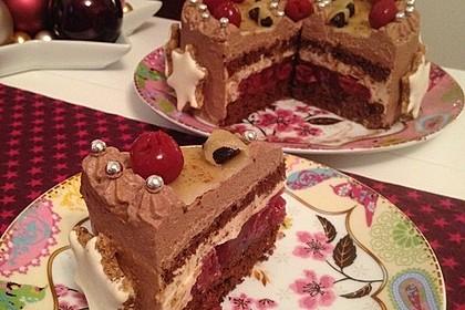 Weihnachtliche Schokoladen-Kirschtorte