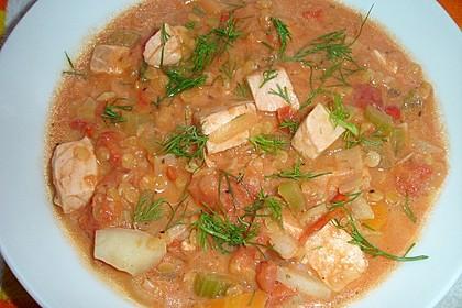 Fisch-Gemüsetopf mit roten Linsen