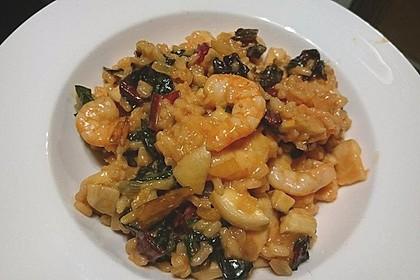 Pilzrisotto mit Mangold, Kräuterseitlingen und Garnelen 2