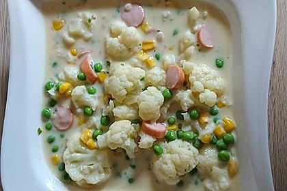 Blumenkohlsuppe mit Würstchen 5