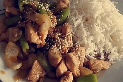 Hähnchen mit Reis und Peperoni