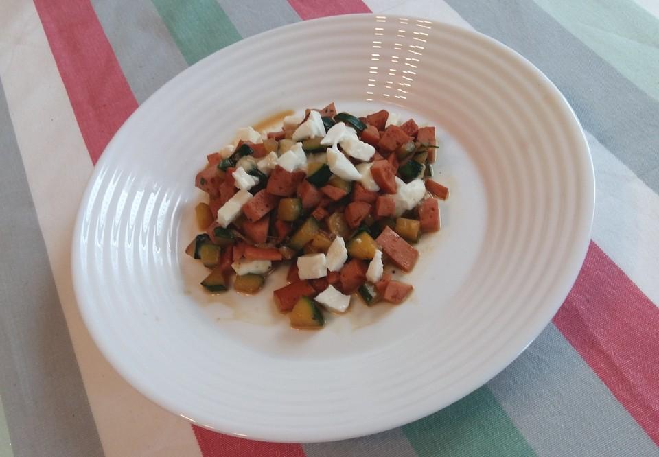 Schnelle Low Carb Kasseler-Zucchini-Mozzarella-Pfanne von SunnyKida ...