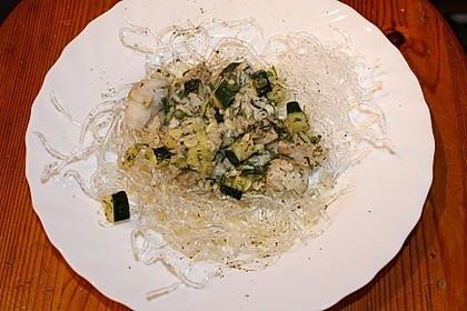 Seelachs mit Zucchini/Dillgemüse, auf Kelp