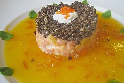 Lachs - Orangen - Tartar mit  Belugalinsen 4