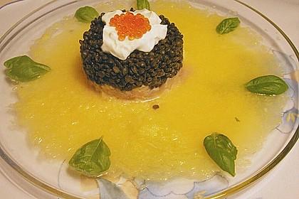 Lachs - Orangen - Tartar mit  Belugalinsen 9