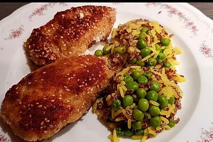 Gefüllte Puten-Minutensteaks mit buntem Reis