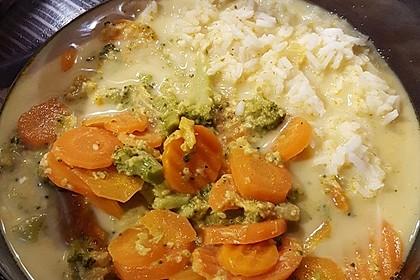 Seelachsfilet mit Reis, Curry-Kaisergemüse und Sesam 3