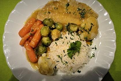 Seelachsfilet mit Reis, Curry-Kaisergemüse und Sesam 2