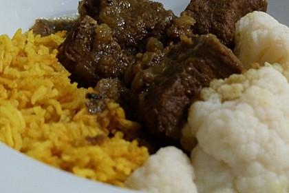 Beef Vindaloo mit Blumenkohl und Basmati-Reis