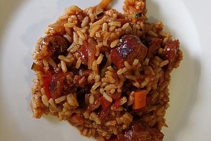 Gemüse-Reispfanne mit Mettenden (Bild)