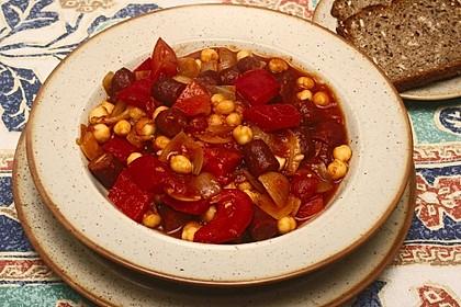 Kichererbsen-Ragout mit Cabanossi und Paprika 1