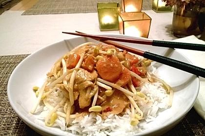 Asia Erdnuss-Hühnchen mit Reis 1