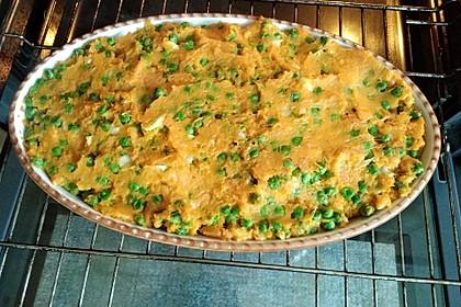 Gefüllte Süßkartoffeln mit Erbsen und Käse 3