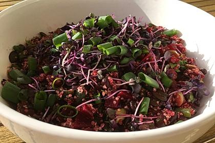 Quinoasalat mit schwarzen Bohnen, Rote Beten und Kürbiskernen
