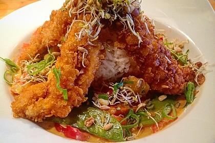 Mango-Thaicurry und Crispy Chicken