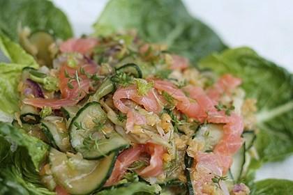 Linsen-Lachs-Salat mit Fenchel und Gurke
