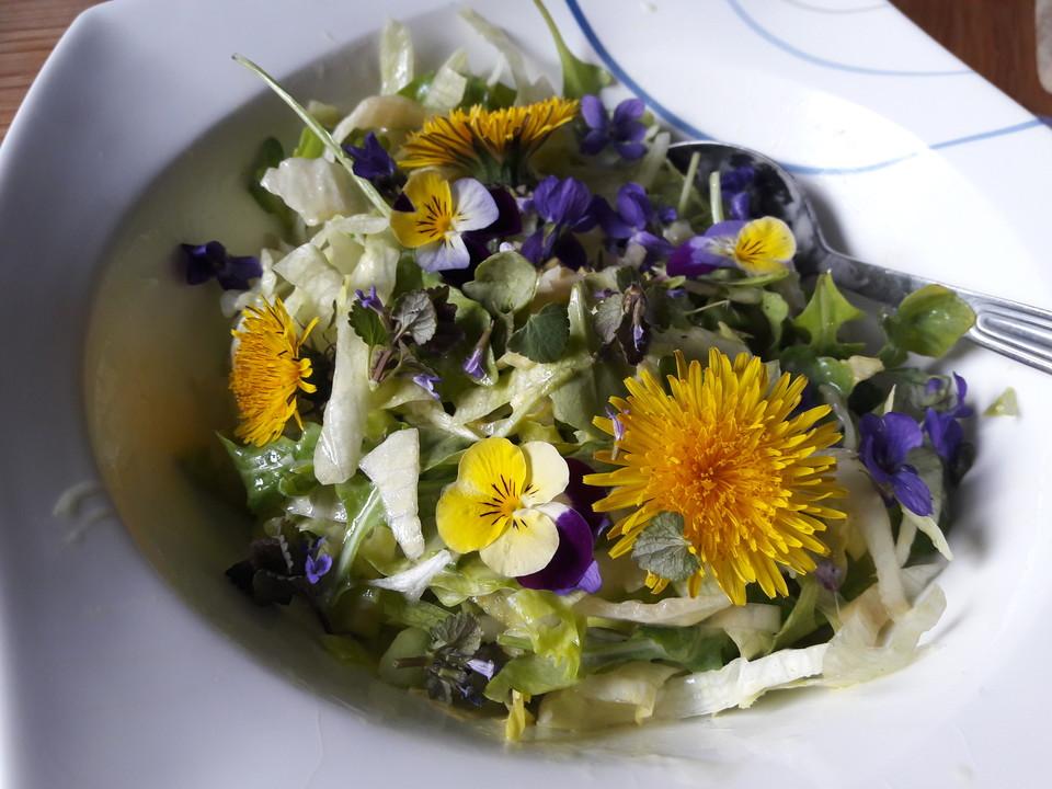 Chicorée Eisbergsalat Mit Blüten In Feiner Löwenzahn Senf
