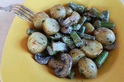 Spargel-Kartoffel-Pfanne mit Champignons
