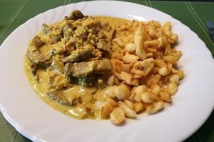 Filetspitzli an Curryrahm-Sauce