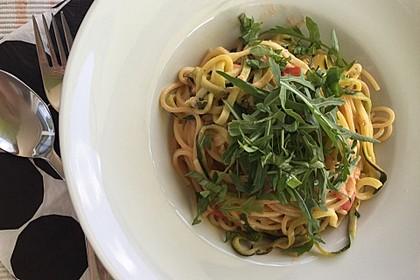 Sommerliche Spaghetti mit Tomaten und Zucchini