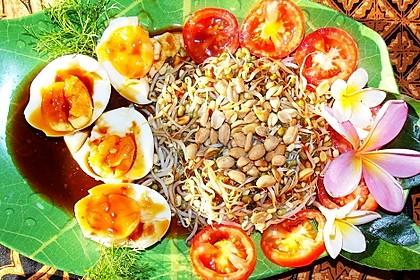Telur Balado dengan Tauge - Soft gekochte Eier mit Sambal und Mungbohnensprossen
