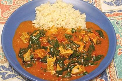 Hühnchen-Curry mit Spinat und Garam masala