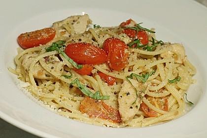 Tomaten-Hähnchenbrust-Spaghetti