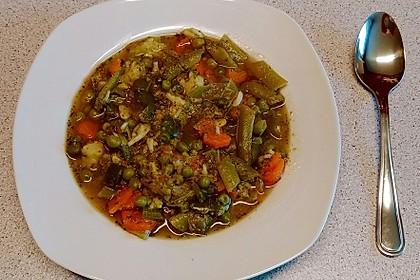 Grüner Gemüseeintopf sauer-süß