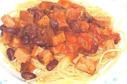 Chili - Spaghetti mit Fleischkäse