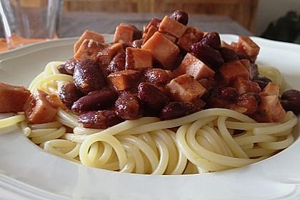 Chili - Spaghetti mit Fleischkäse 3