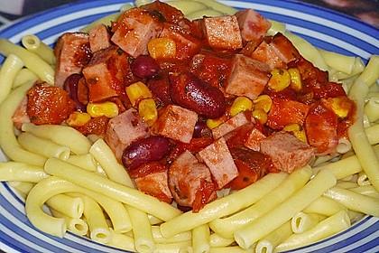 Chili - Spaghetti mit Fleischkäse 2
