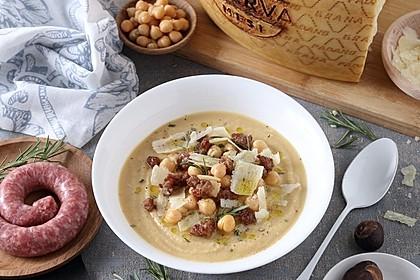 Cremige Kichererbsen-Esskastanien-Suppe