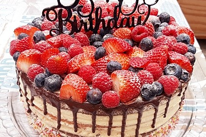 Fruchtige Regenbogen-Torte / Drip-Cake 2