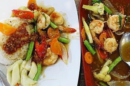 Garnelen mit Cap Cay und englischer Sauce à la Hongkong