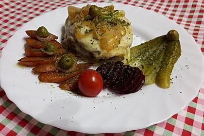 Hähnchenbrust auf Toastie mit Käse überbacken