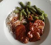 Schweinemedaillons mit Bohnen süß-sauer (Bild)
