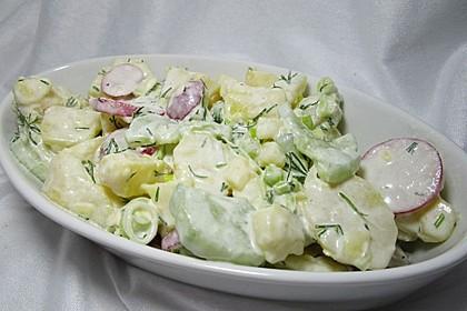 Kartoffelsalat mit Gurke, Radieschen und Dill