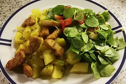 Postelein-Salat auf Kartoffel-Vinaigrette 1