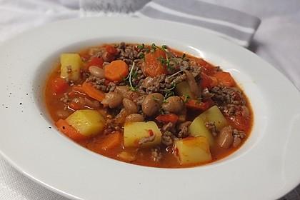 Hackfleischpfanne mit Gemüse und Borlotti Bohnen