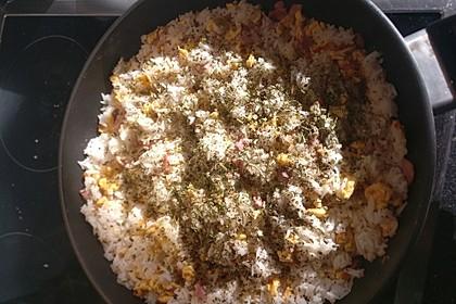 Herzhaftes Frühstück - Reis mit Schinken und Ei