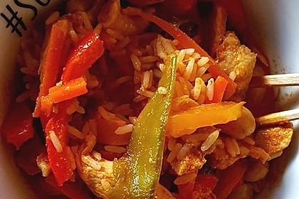Nymphadoras rotes Thai Curry mit Hähnchenbrust und Zuckerschoten (Bild)