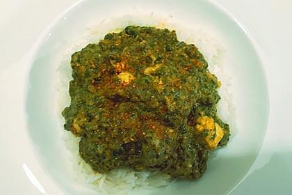 Chicken Palak mit Chili und Basmatireis