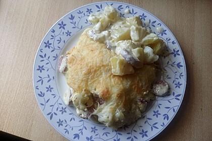 Kartoffel-Blumenkohl-Auflauf mit Mettenden