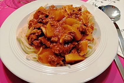 Spaghetti mit pikanter Sauce (Bild)