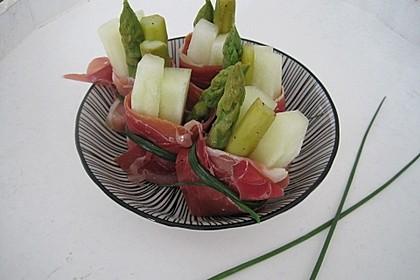 Melonen-Schinken-Röllchen mit grünem Spargel
