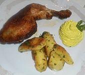 Hähnchenkeulen mit Curry-Dip (Bild)