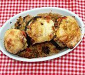 Weiße Ufo-Zucchini mit Couscous gefüllt (Bild)