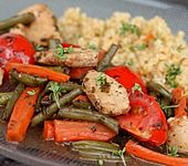 Hähnchen-Gemüsepfanne mit Balsamico (Bild)
